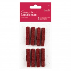 Glitter Pegs (8pcs) - Red